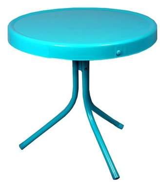 LB International Outdoor Retro Metal Tulip Side Table Turquoise Blue