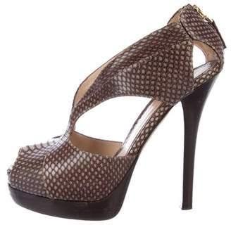 Fendi Snakeskin Peep-Toe Sandals