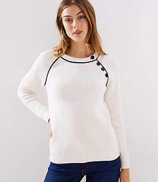 LOFT Petite Piped Button Trim Raglan Sweater
