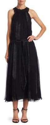 Halston High Ruched Neck Silk Midi Dress