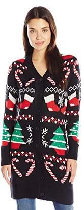 Allison Brittney Women's Spirit Button up Ugly Christmas Sweater Tunic