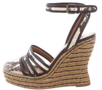Lanvin Python-Trimmed Wedge Sandals