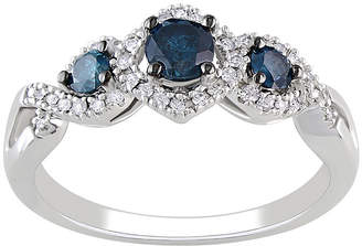 MODERN BRIDE 1/2 CT. T.W. White & Heat-Treated Blue Diamond 3-Stone Engagement Ring