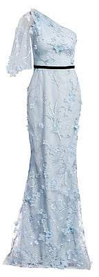 Marchesa Women's Embroidered Floral One-Shoulder Trumpet Gown - Size 0