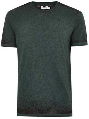 Topman Mens Green Teal Burnout Fabric Short Sleeve Top