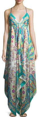 Etro V-Neck Sleeveless Printed Maxi Dress with Ribbon Ties, One Size