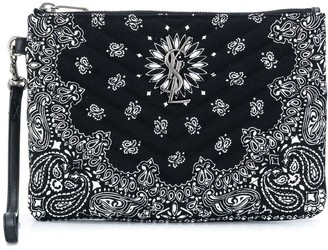 Saint Laurent paisley print clutch