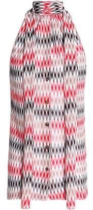 Missoni Draped Crepe-Paneled Crochet-Knit Top