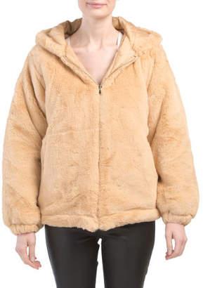 Juniors Hooded Faux Fur Jacket