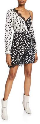 Self-Portrait Leopard-Print Wrap Dress with Lace
