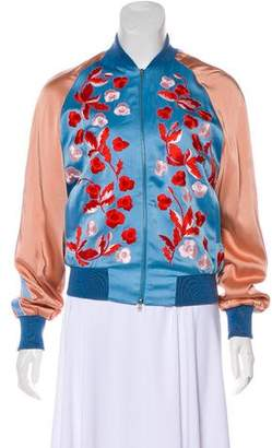 Jonathan Saunders Embroidered Satin Bomber w/ Tags