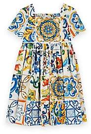 Dolce & Gabbana Kids' Majolica-Tile-Print Cotton Poplin Dress