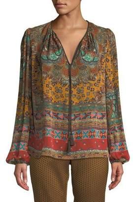 Etro Tie-Neck Long-Sleeve Paisley-Print Silk Blouse