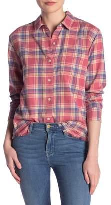 Frame True Plaid Fray Hem Button Down Shirt