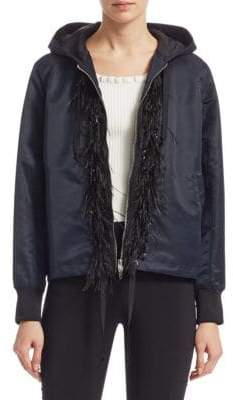 Colette Hooded Feather-Trim Jacket