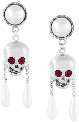 Moschino skull drop clip-on earrings