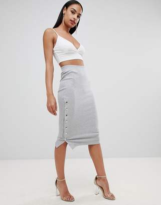 Missguided ribbed midi skirt