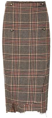 Vetements Checked wool skirt