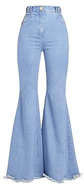 Balmain Women's High-Rise Fray Hem Flared Jeans