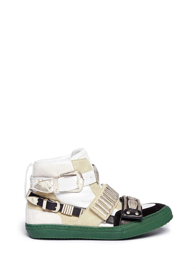 TOGA ARCHIVES Metal hardware suede leather sneakers