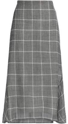 Cefinn Checked Wool-Blend Gauze Midi Skirt