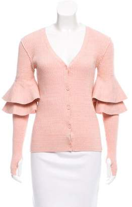 Apiece Apart Ruffle-Trimmed Knit Cardigan