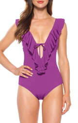 Becca Socialite Ruffle One-Piece Swimsuit