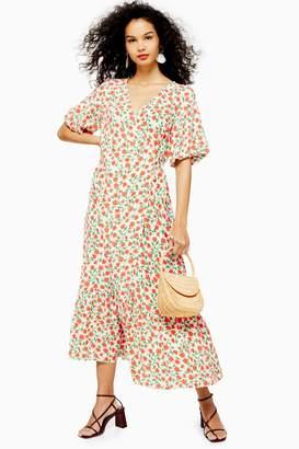 Topshop Womens Printed Peplum Wrap Dress - Red