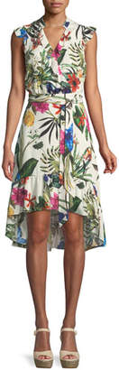 Parker Margaret Floral High-Low Faux-Wrap Dress