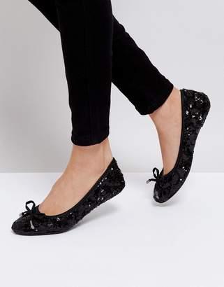 Dune Round Toe Fold Up Ballerina Shoe