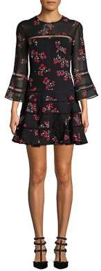 Bardot Floral Bell-Sleeve Fit-&-Flare Dress