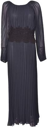 P.A.R.O.S.H. Lace Detail Pleated Long Dress