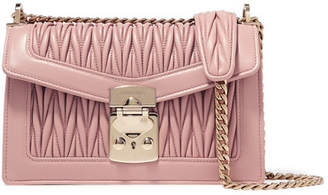Miu Miu Confidential Matelassé Leather Shoulder Bag - Blush