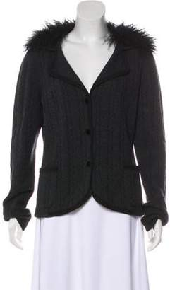Lanvin Wool and Cashmere-Blend Fur-Collared Cardigan Grey Wool and Cashmere-Blend Fur-Collared Cardigan