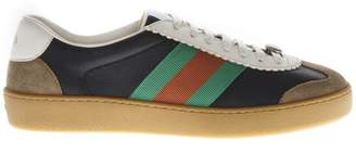 Gucci Grey Suede & Leather Sneakers With Web Detail