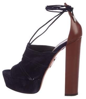 Aquazzura Suede Very Eugenie Sandals