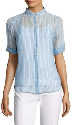 MiH Jeans Women's Silk Stripe Short Sleeve Shirt