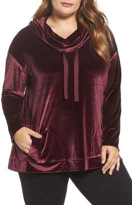 Sejour Cowl Neck Velour Top (Plus Size)