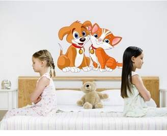 Mural Style and Apply Dog and Cat Wall Decal - wall print decal, sticker, vinyl art home decor - DS 833 - 43in x 33in