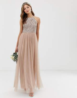Maya Bridesmaid halter neck maxi tulle dress with tonal delicate sequins in taupe blush