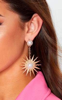 PrettyLittleThing Gold Pearl Sun Drop Earrings