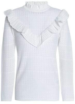 Sandro Ruffled Pointelle-Knit Sweater