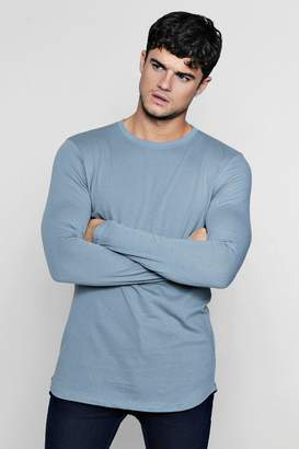 boohoo Long Sleeve Longline T-Shirt With Curve Hem