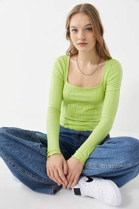 Urban Outfitters Mabel Lettuce-Edge Square-Neck Top