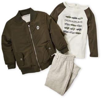 Calvin Klein Infant Boys) 3-Piece Olive Bomber Jacket & Joggers Set