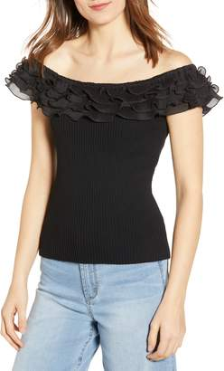 Endless Rose Off the Shoulder Ruffle Detail Sweater