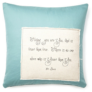 "Dr. Seuss You"" 20x20 Pillow, Blue"