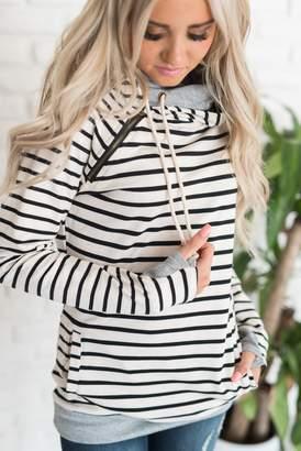 Ampersand Avenue DoubleHood Sweatshirt - Tan Stripe