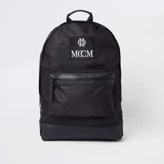 River Island Mens Black embroidered backpack