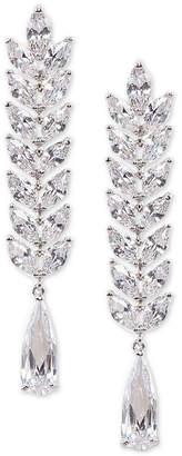 Nina Silver-Tone Cubic Zirconia Linear Drop Earrings